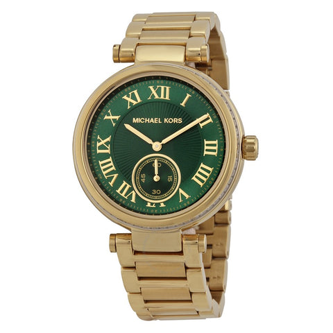 Michael Kors Skylar Emerald Green Dial Gold-tone Ladies Watch MK6065