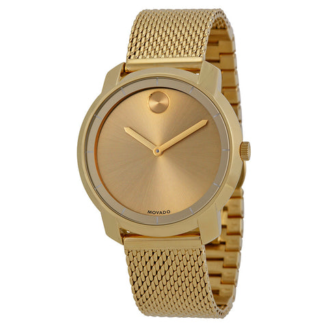 Movado Bold Gold Dial Gold Ion-plated Mesh Watch 3600242 - Free Shipping -  Promenade Watches - 1