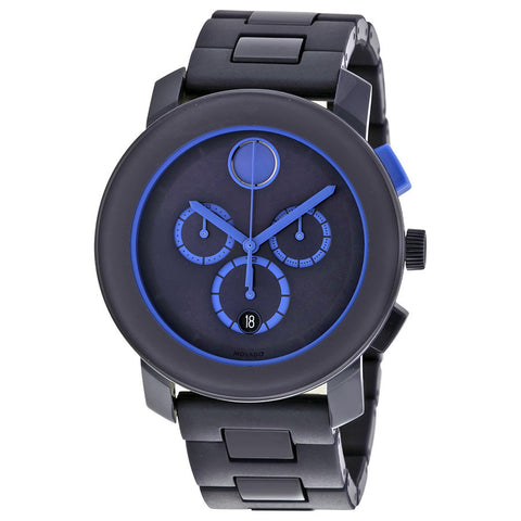 Movado Bold Navy Blue Stainless Steel Chronograph Men's Watch 3600270 - Free Shipping -  Promenade Watches - 1