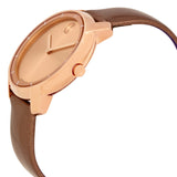 Movado Bold Rose Dial Pearlized Mocha Leather Ladies Quartz Watch 3600313 - Free Shipping -  Promenade Watches - 2