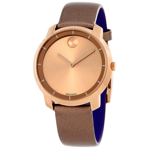 Movado Bold Rose Dial Pearlized Mocha Leather Ladies Quartz Watch 3600313 - Free Shipping -  Promenade Watches - 1