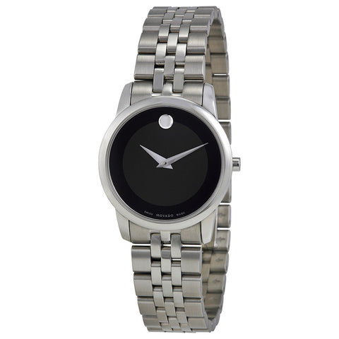 Movado Museum Black Dial Stainless Steel Ladies Watch 0606505 - Free Shipping -  Promenade Watches - 1