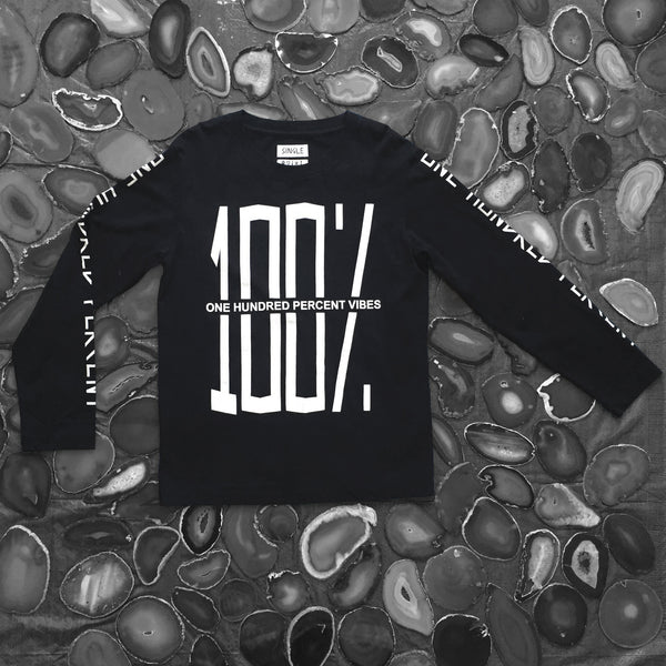 100% Vibes Black Long Sleeve