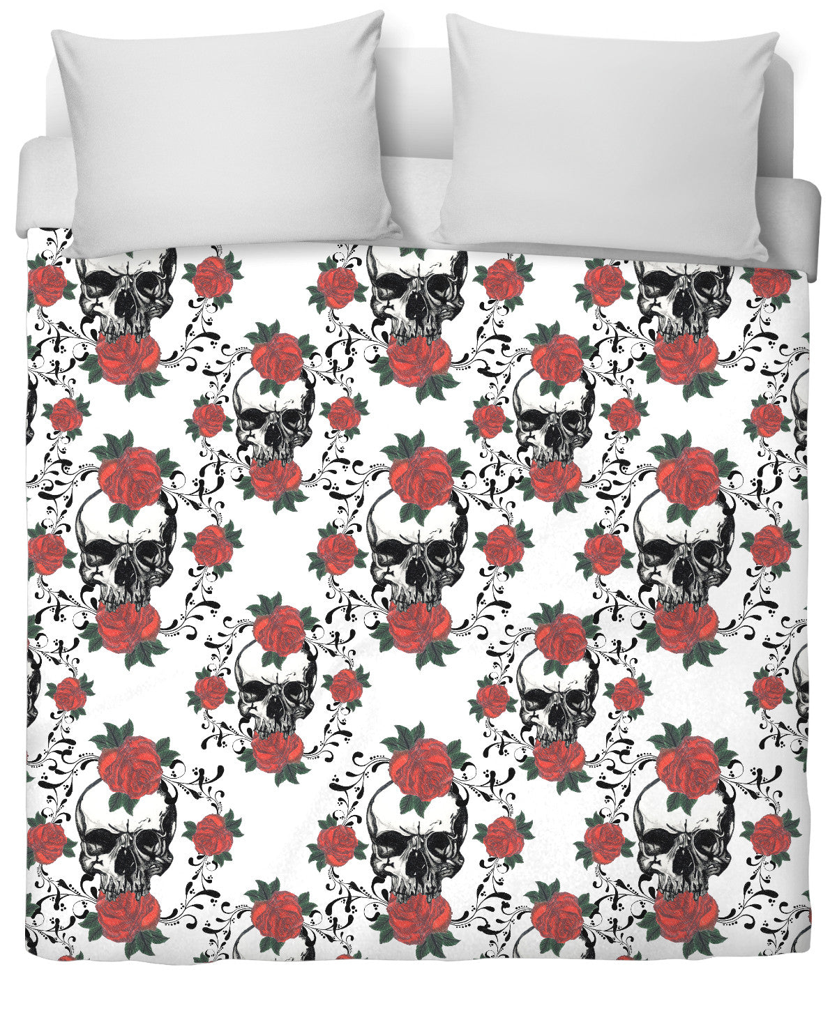 Red Roses and Skulls Duvet