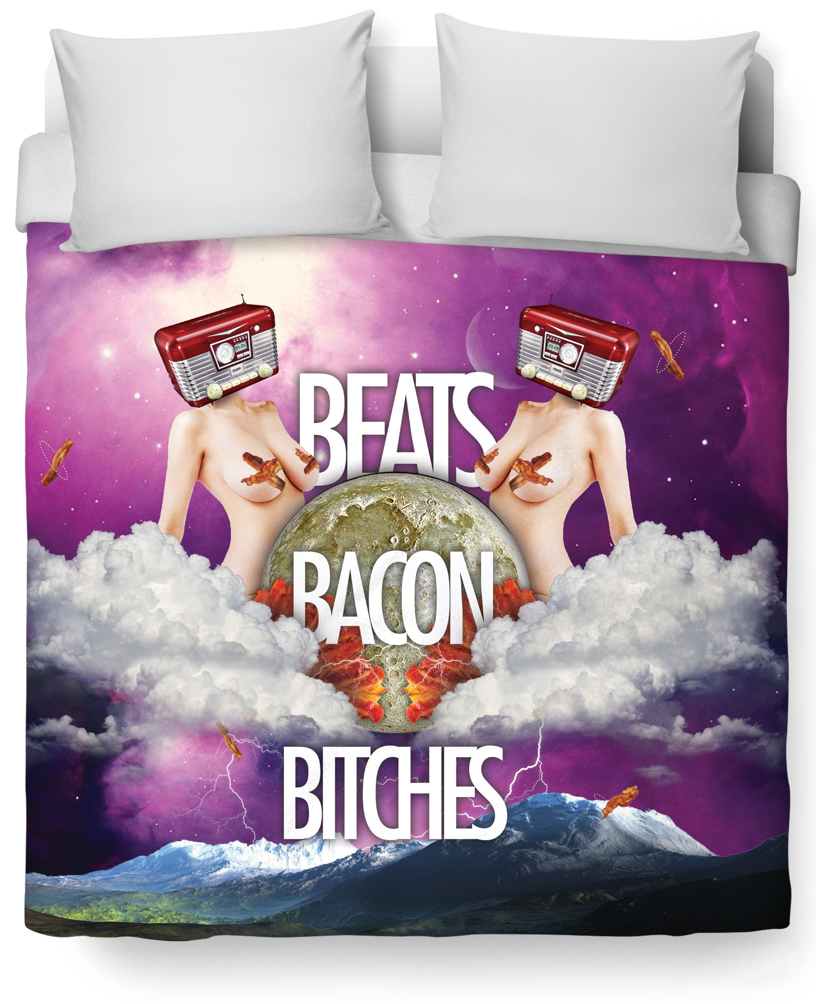 Beats Bacon Bitches Duvet Cover