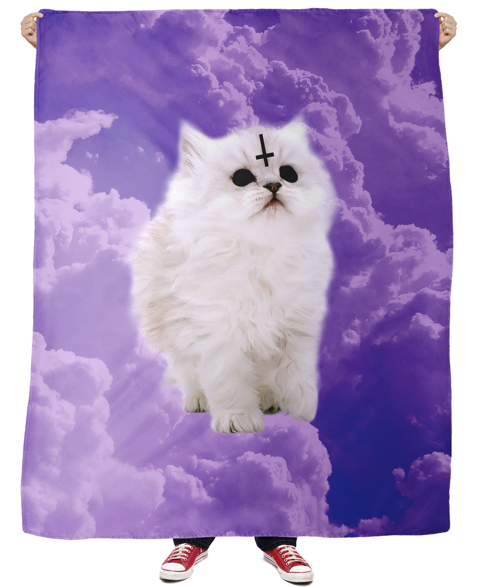 Satan Cat Fleece Blanket