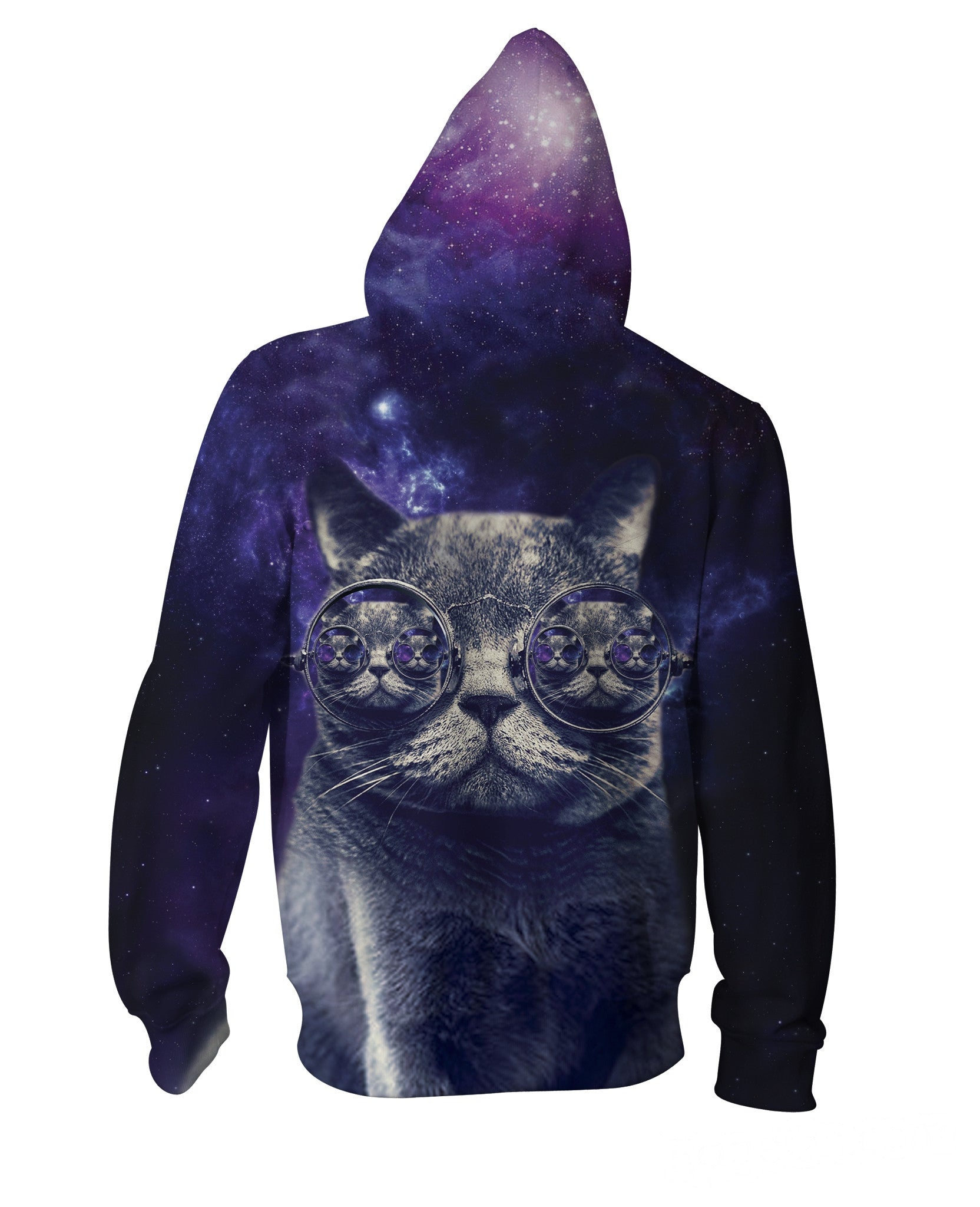Hipster Cat Zip-Up Hoodie