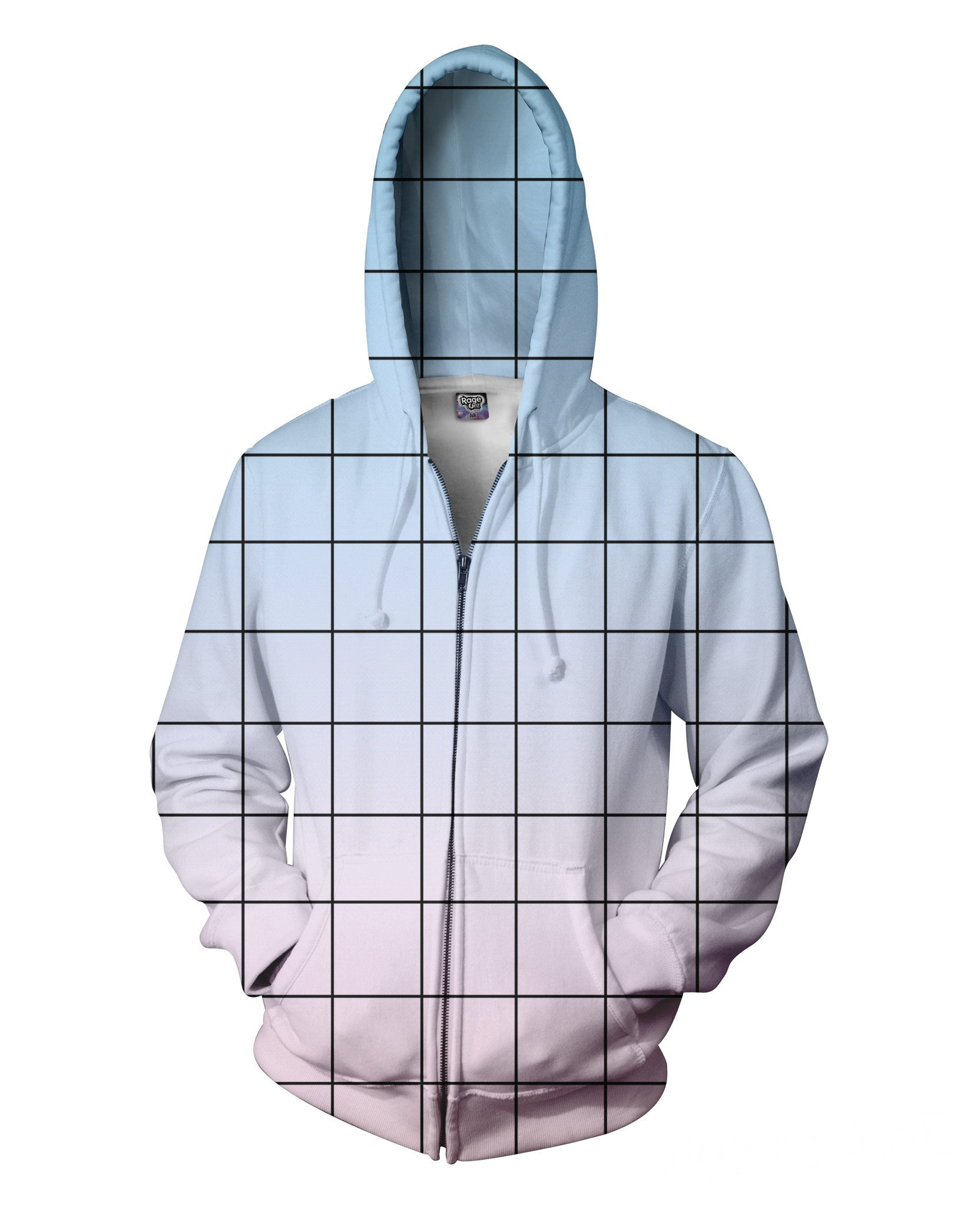 Blue Pink Grid Zip-Up Hoodie