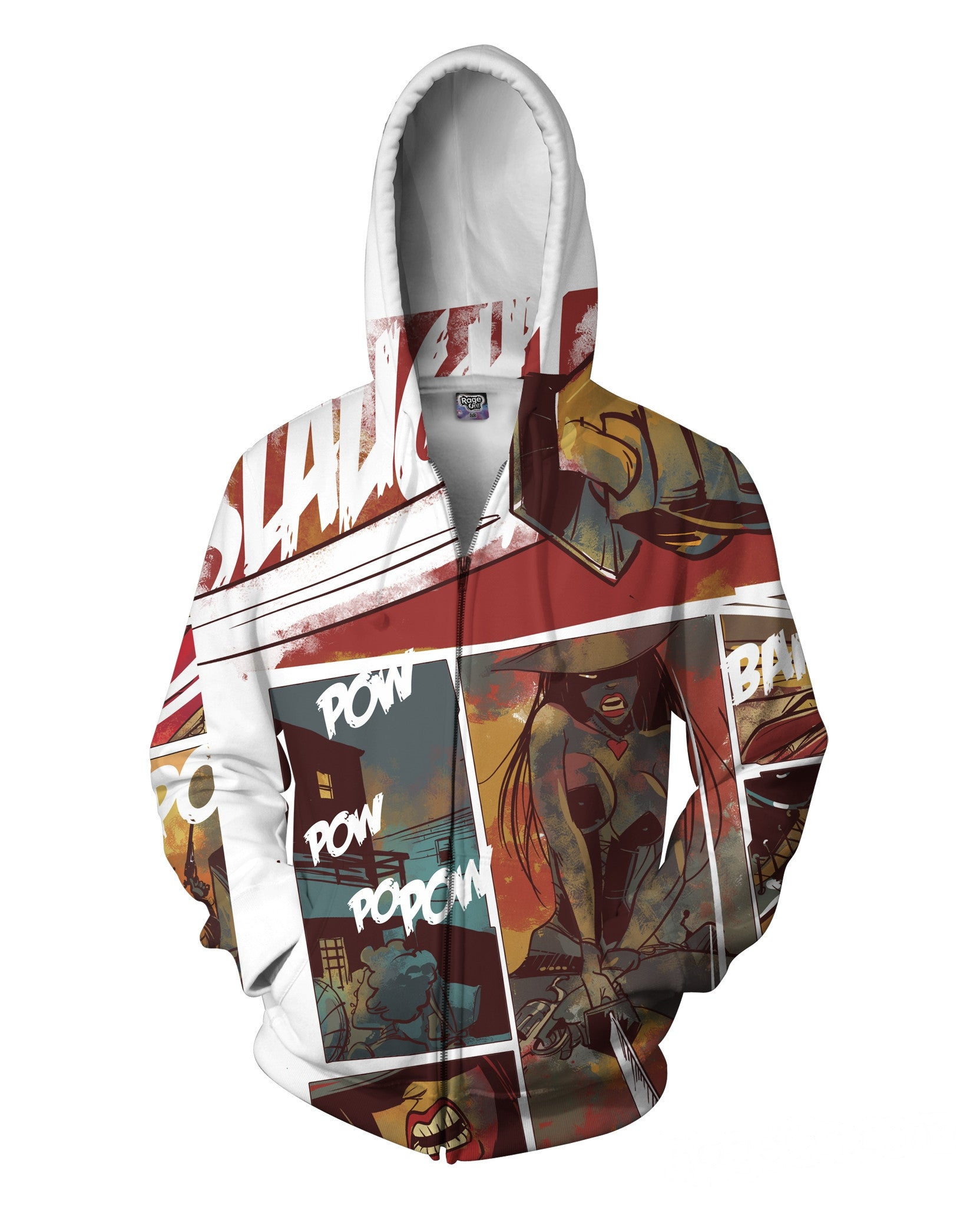 Comic Cowboy Zip-Up Hoodie