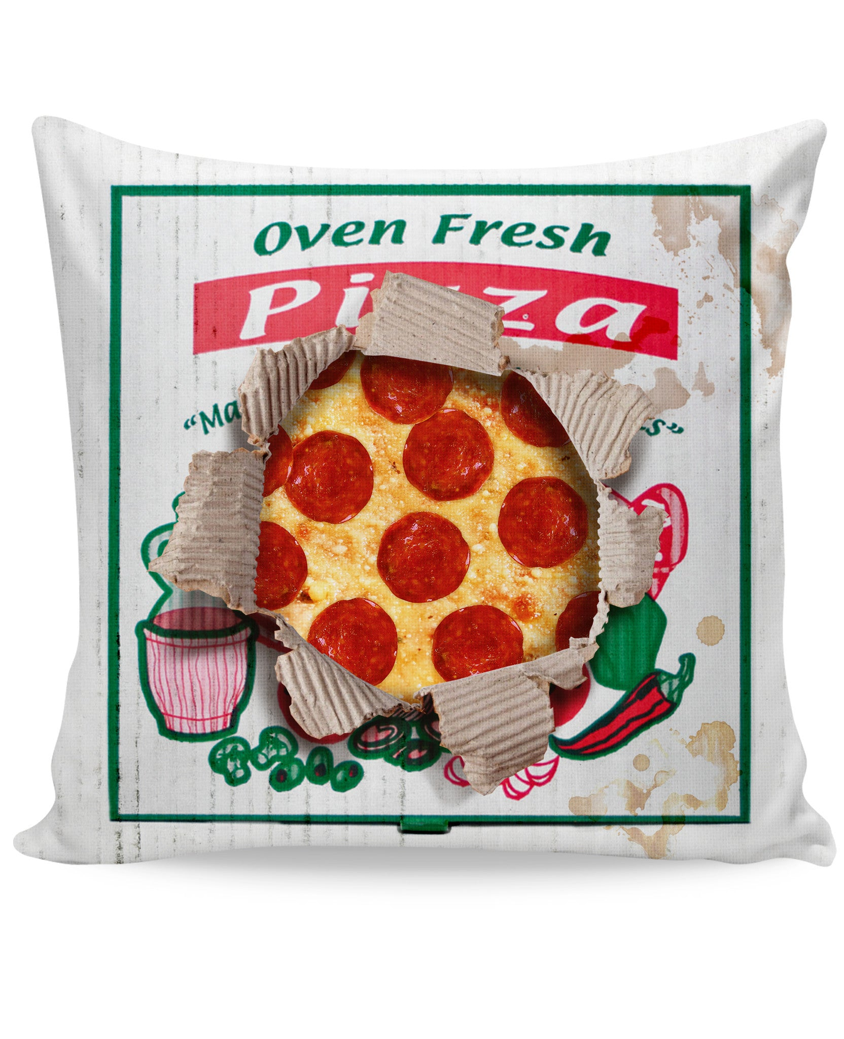 Leftover Pizza Box Couch Pillow