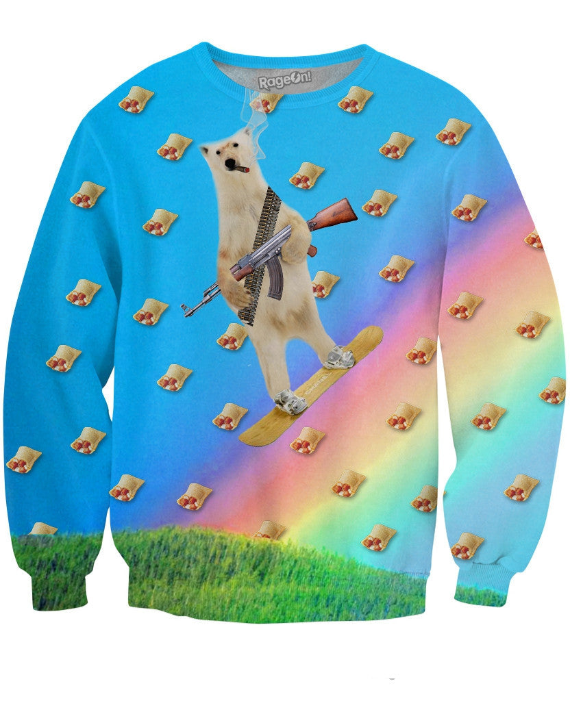Polar Bear Pizza Roll Apocalypse Crewneck Sweatshirt
