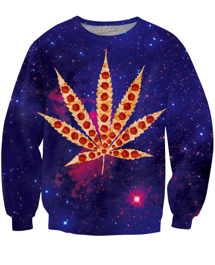 Weed Pizza Galaxy Crewneck Sweatshirt