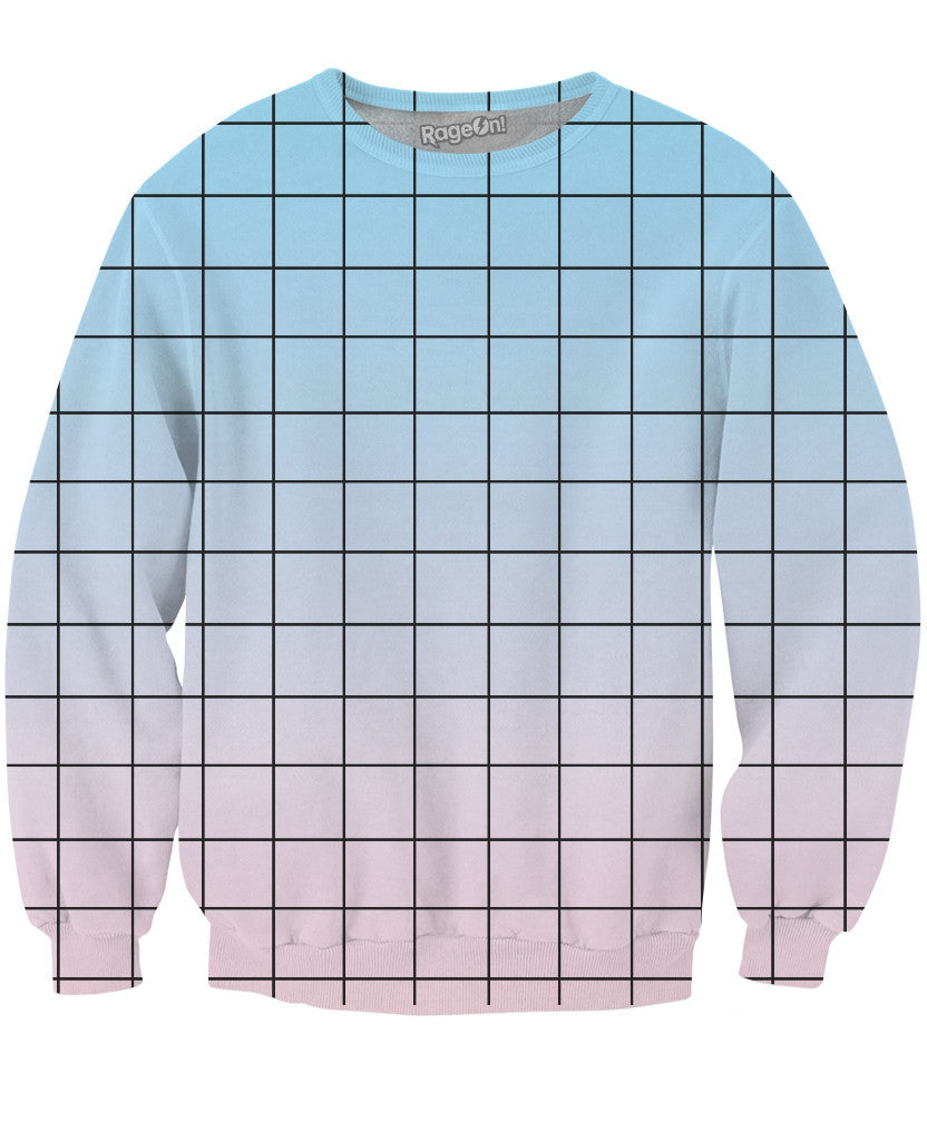 Blue Pink Grid Crewneck Sweatshirt