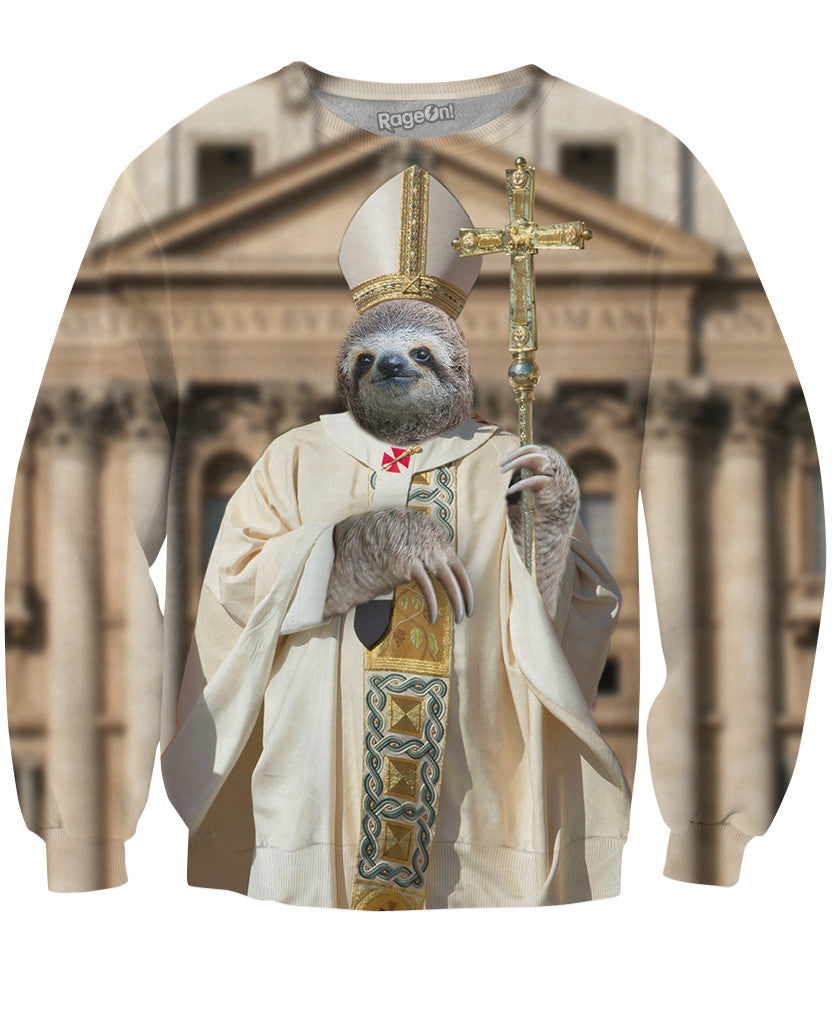 Sloth Pope Crewneck Sweatshirt