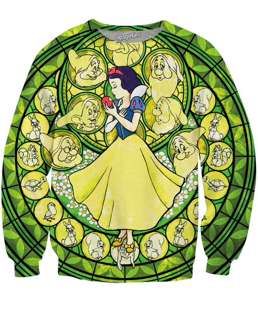 Snow White Stained Glass Crewneck Sweatshirt