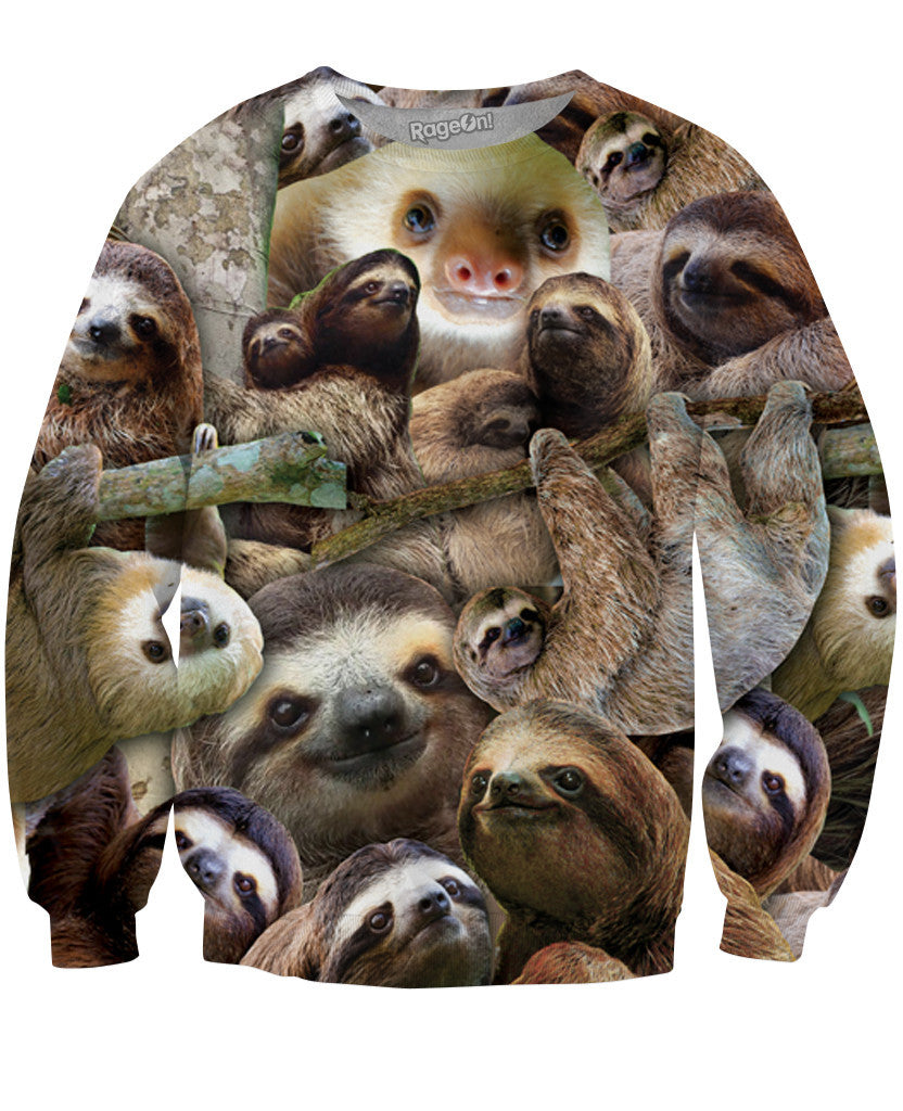 Sloth Collage Crewneck Sweatshirt