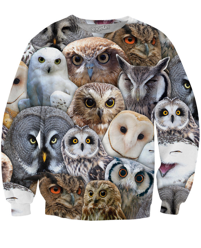 Owl Collage Crewneck Sweatshirt