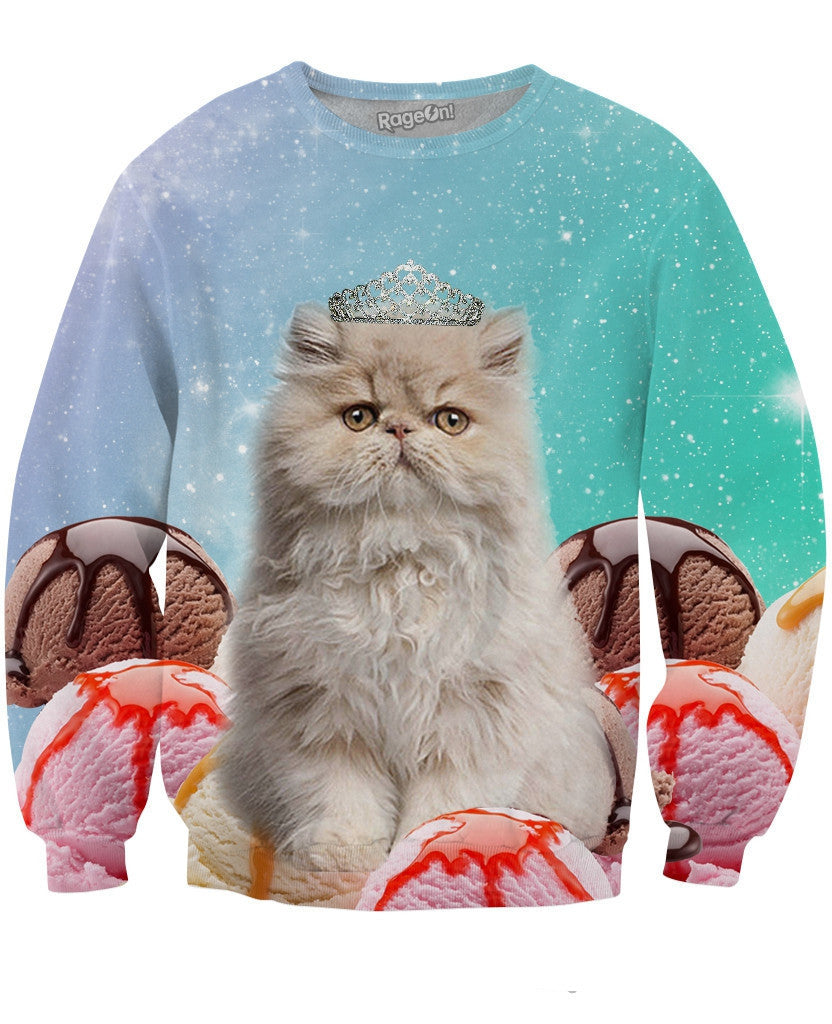 Princess Ice Cream Space Cat Crewneck Sweatshirt