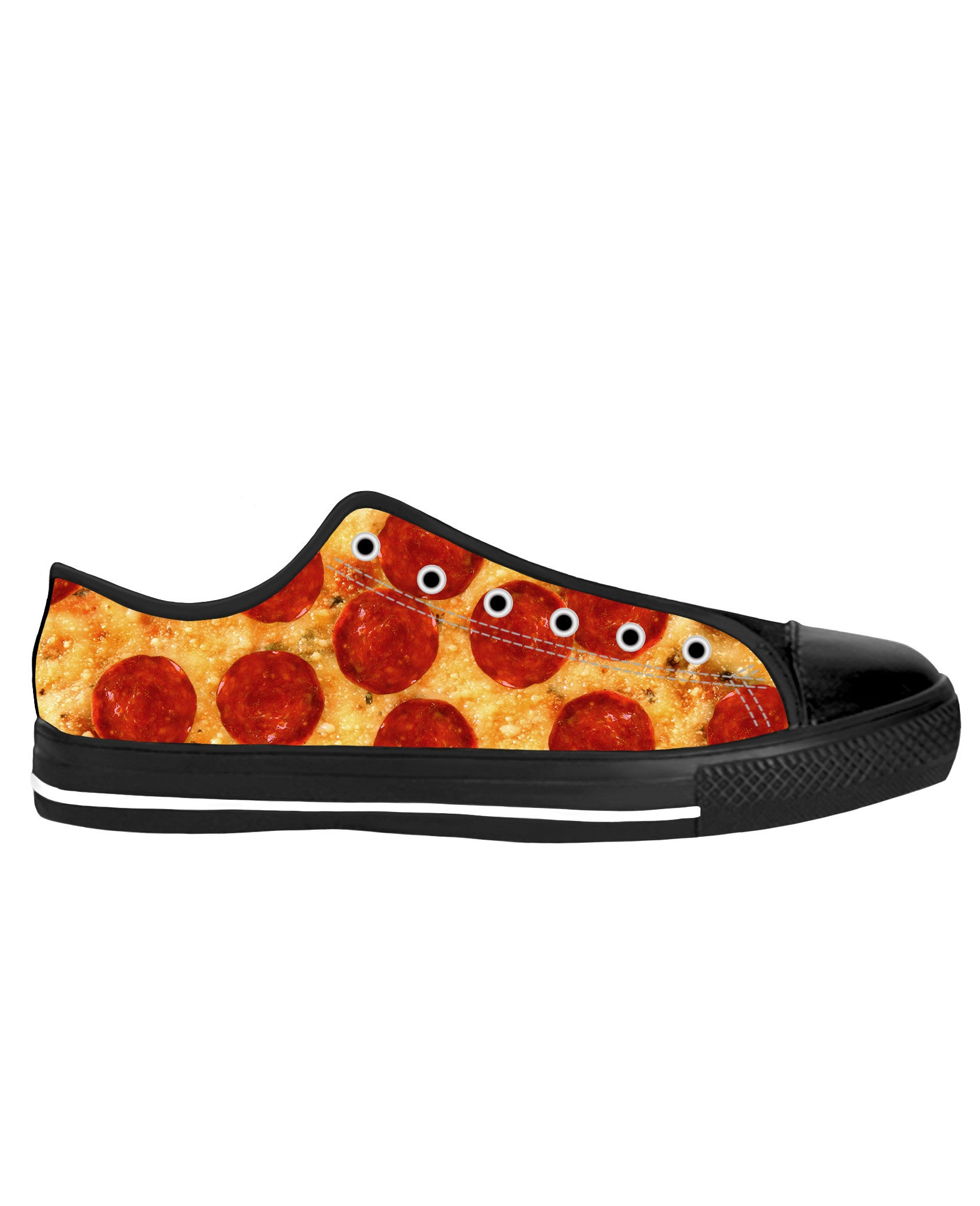 Pizza Black Sole Low Tops