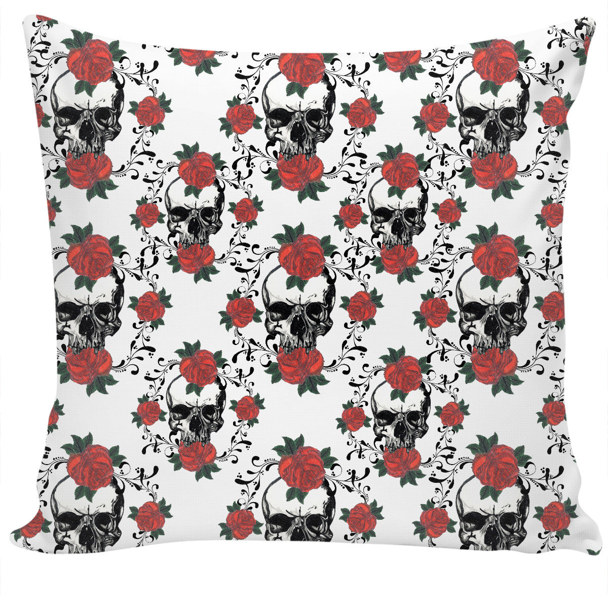 Red Roses and Skulls Couch Pillow