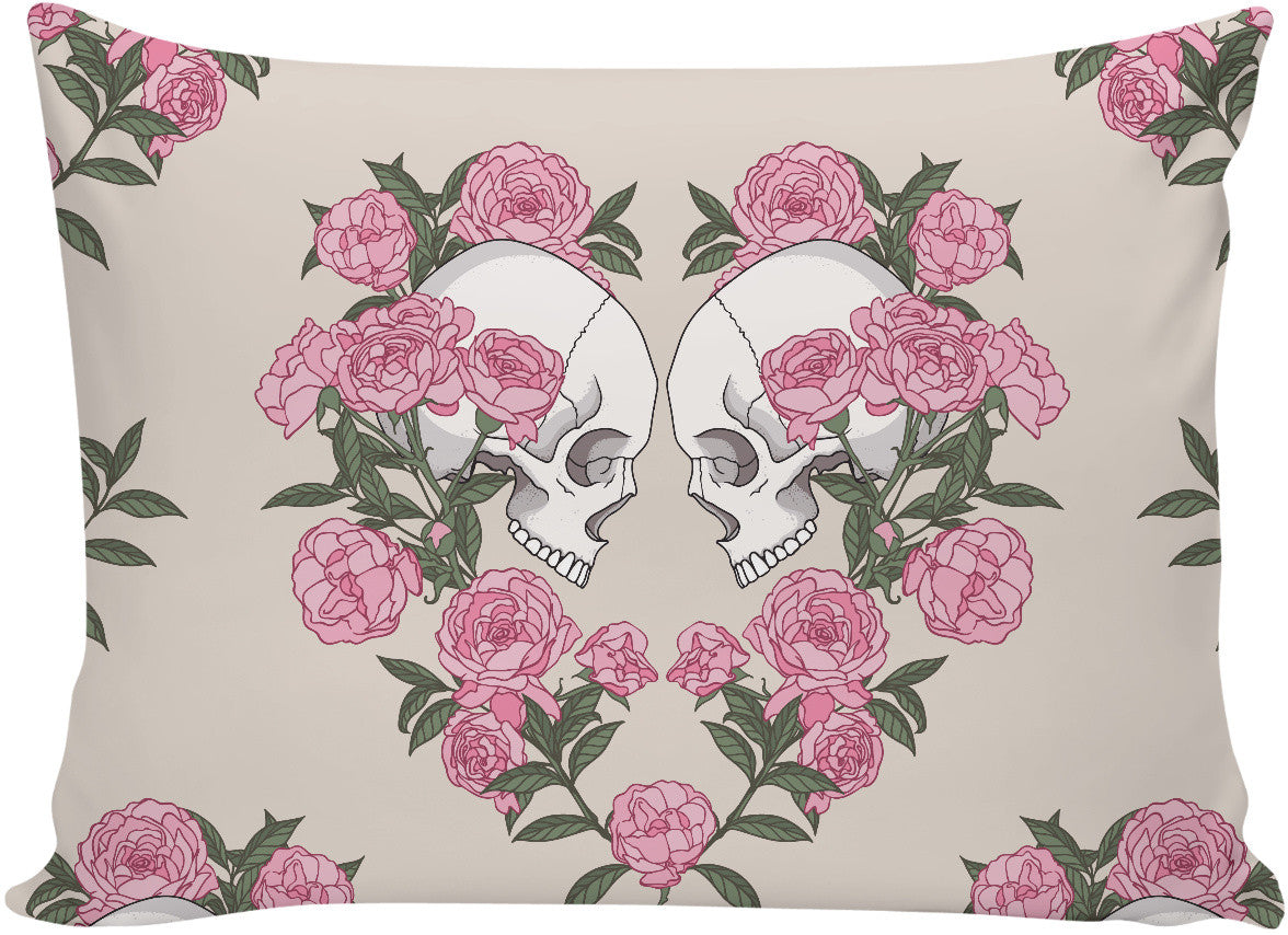Skull and Roses Pillow Case