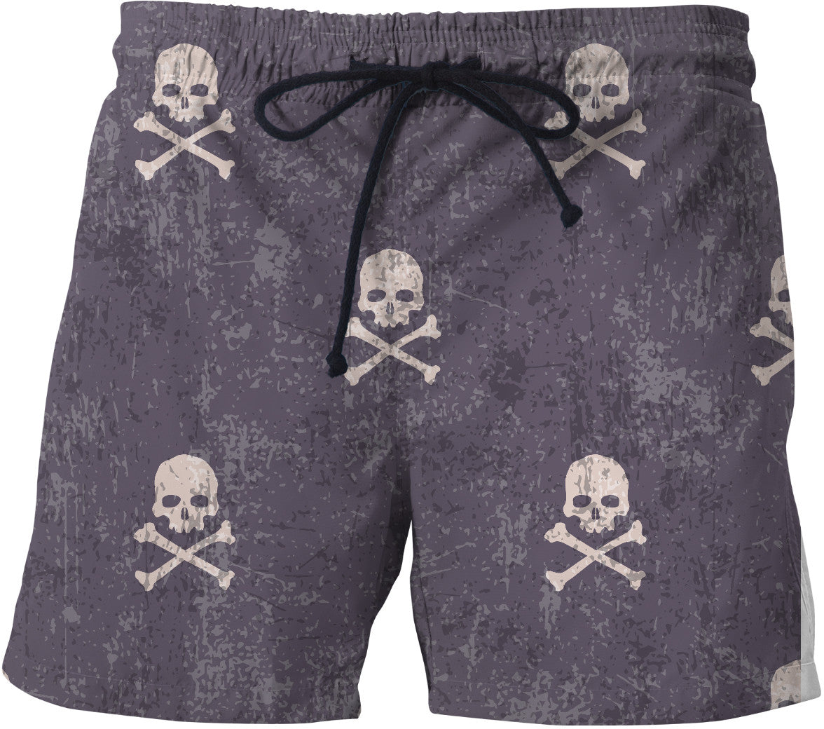 I'm Distressed Skull and Cross Bones Swim Shorts
