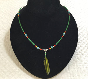 Necklace with feather & turquoise fk1