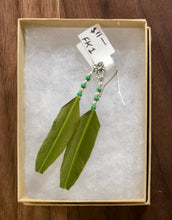 Earrings with green feather fk2 - - Cerrillos Station | Fine Art Gallery, Native American Jewelry & Shop