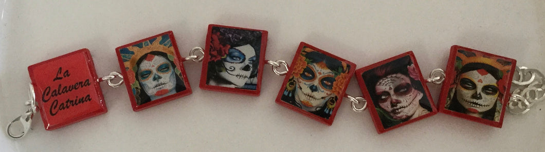 Calavera Catrina bracelet pp5 - - Cerrillos Station | Fine Art Gallery, Native American Jewelry & Shop