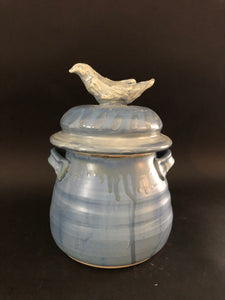 Bird Covered Jar by Barbara King, Blue, BK17