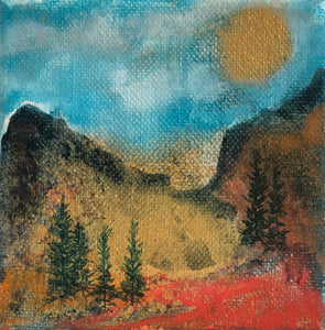"Miniature Oil Original Painting 4"" X 4"" by Karin Brandi, KB10 - Art - Cerrillos Station 