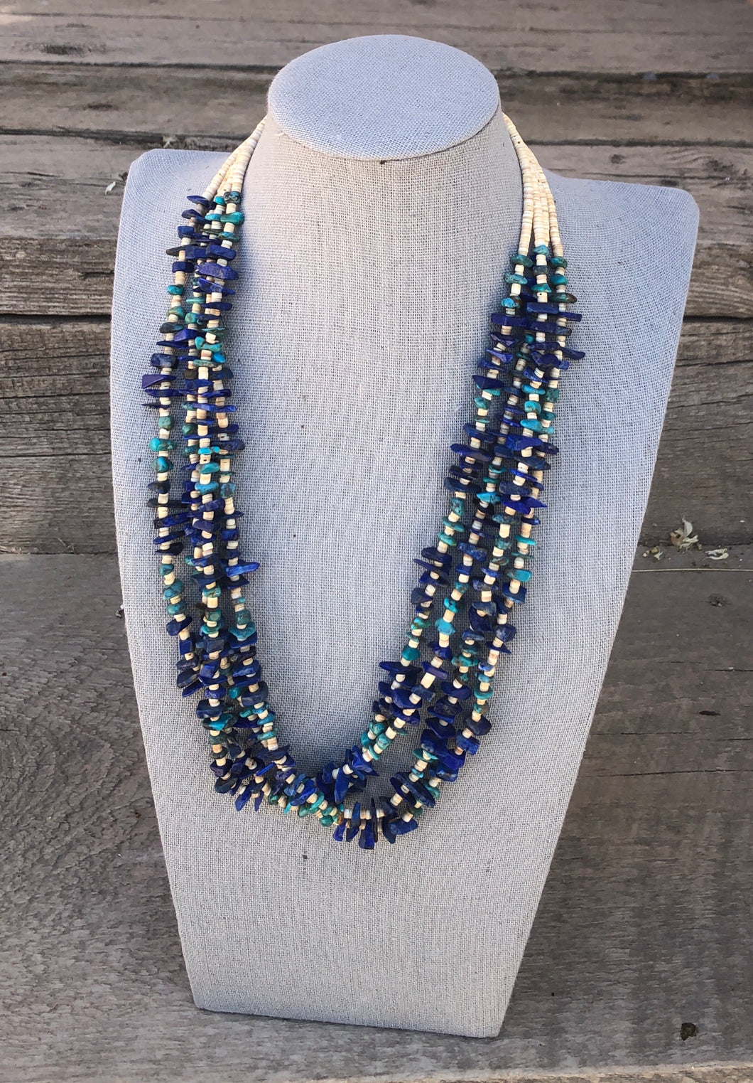 RG50 4 strand Lapis and Turquoise Necklace