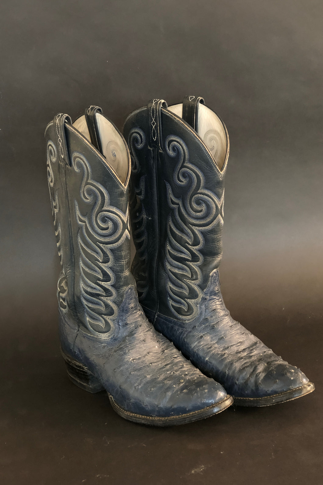 Tony Lama Blue Crocodile Boots, Size 9 1/2, BB52 - BOOTS - Cerrillos Station | Fine Art Gallery, Native American Jewelry & Shop