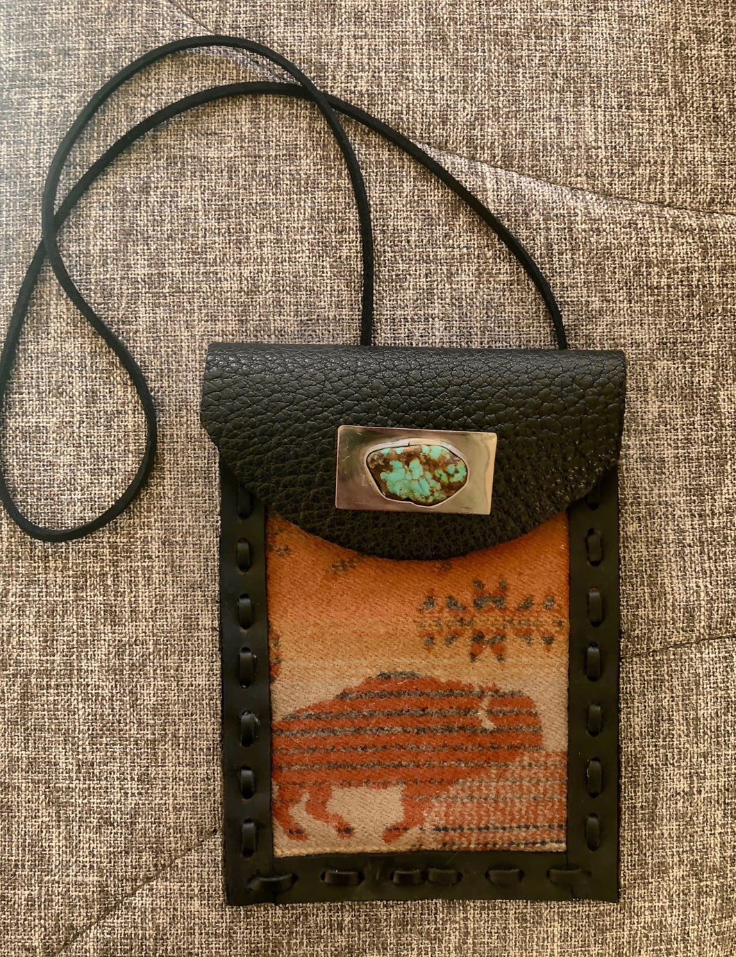 TM3, Leather Cell Phone Pouch with Brown Pendleton fabric and Turquoise and SS accent