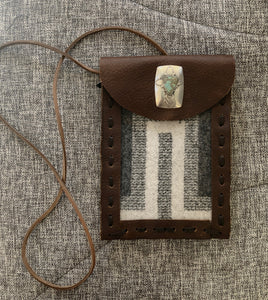 TM1, Leather Cell Phone Pouch with Gray Pendleton fabric and Turquoise and SS accent