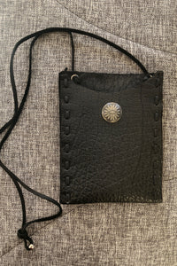 TM6, Leather Cell Phone Pouch with Silver Button