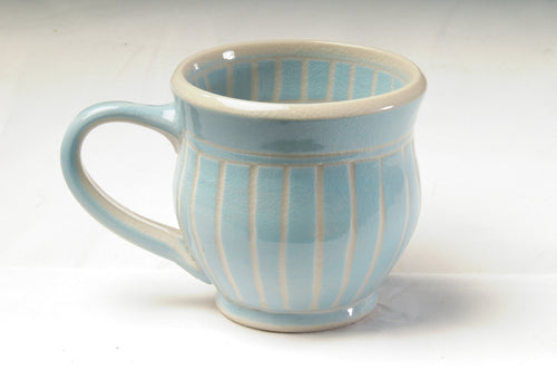 Large green striped mug