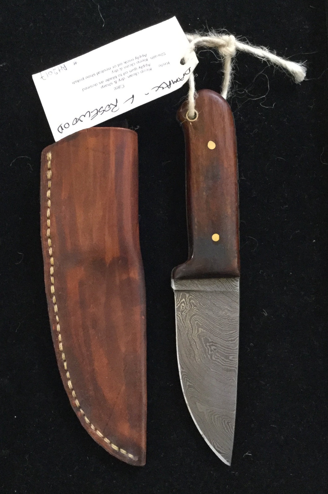 Damascus steel blade with Rosewood handle BH2017 - Knife - Cerrillos Station | Fine Art Gallery, Native American Jewelry & Shop