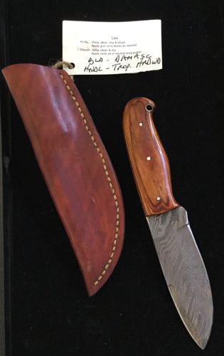 Damascus steel blade with Tropical wood handle BH2021 - Knife - Cerrillos Station | Fine Art Gallery, Native American Jewelry & Shop