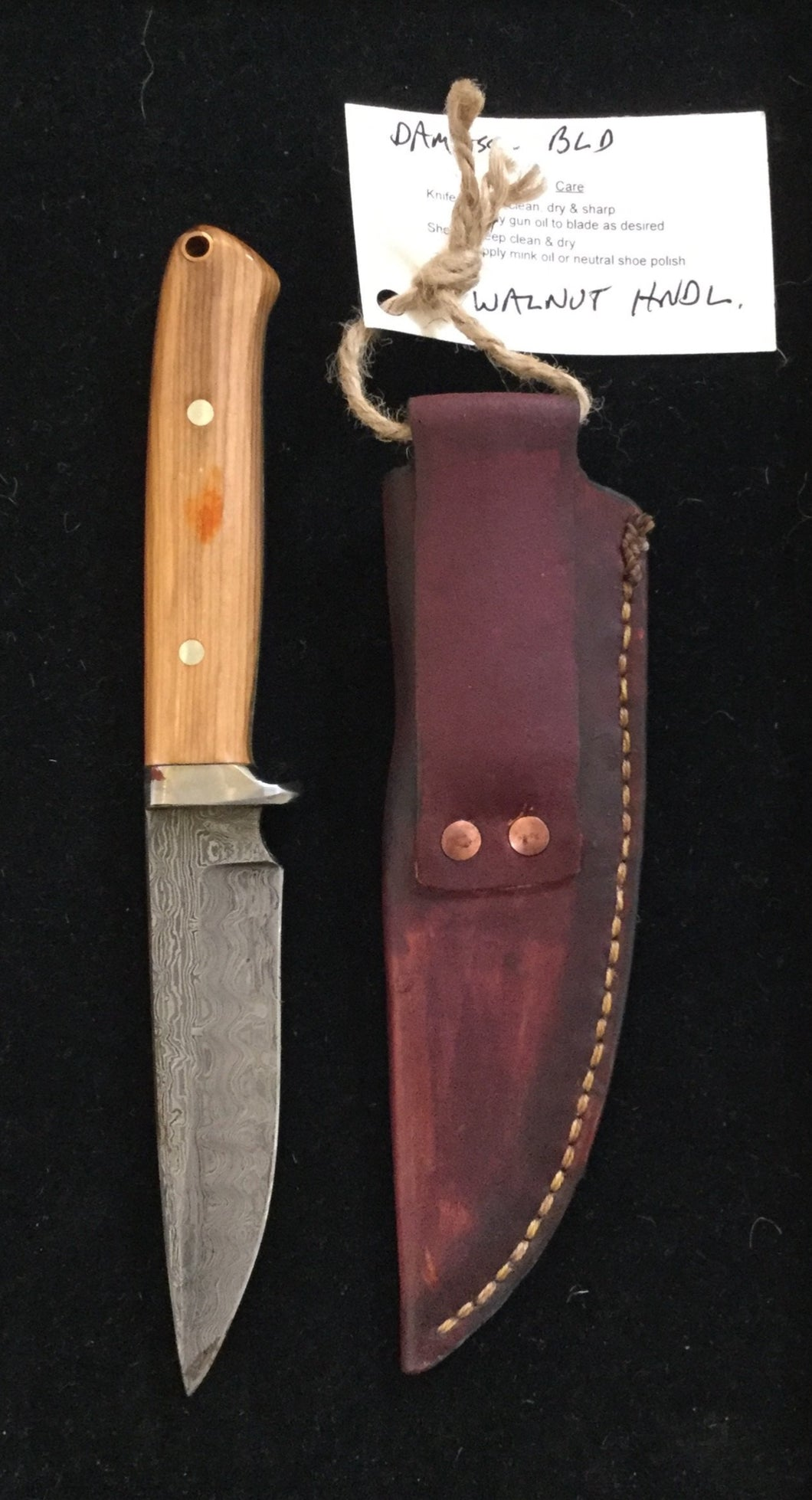 Damascus steel blade, Walnut handle with finger guard BH2028 - Knife - Cerrillos Station | Fine Art Gallery, Native American Jewelry & Shop
