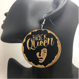 black queen wooden natural hair earrings afrocentric urban afro large big round hoop jewelry accessories fashion