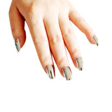 silver nails; acrylic nails; metallic nails; metallic false nails; metallic fake nails; silver metallic nails; fake nails; press on nails; mirror nails; artificial nails; glue on nails;