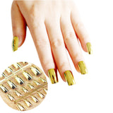 gold nails; acrylic nails; metallic nails; metallic false nails; metallic fake nails; gold metallic nails; fake nails; press on nails; mirror nails; artificial nails; glue on nails;
