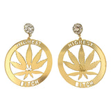 highest bitch earrings weed jewelry marijuana accessories stoner hemp leaf maple mary jane fashion outfit idea 420 friendly ladies apparel cannabis