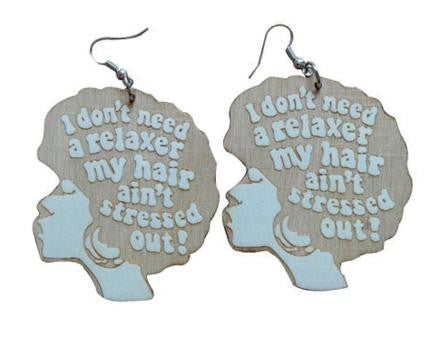 I don't need a relaxer my hair aint stressed out earrings | Natural hair earrings | Afrocentric earrings | Afrocentric jewelry | afrocentric fashion | afro earrings | afro jewelry | afrocentric jewlry earrings afrocentric jewelry fashion dope afro african fashion black twa ear rings earring earrings afro puff