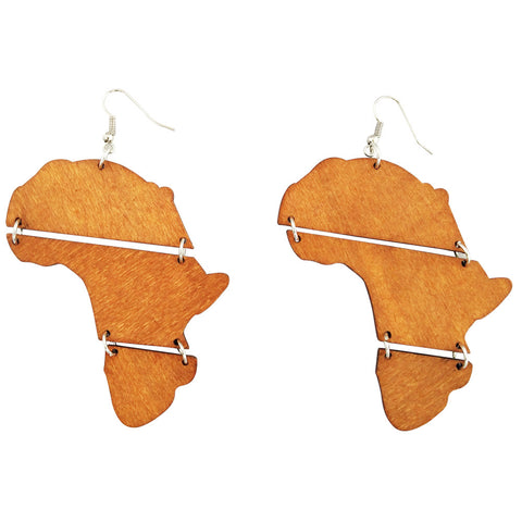 melanated africa shaped earrings map african american wooden accessories afrocentric ear rings natural hair jewelry fashion outfit gift idea clothing