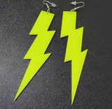 yellow lightning bolt earrings acrylic plastic womens men woman man ladies girls female jewelry accessories accessory fashion outfit idea clothing large unique whimsical urban