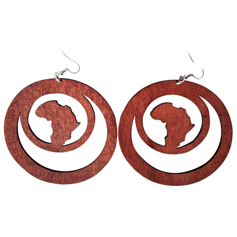 africa within earrings | natural hair earrings | afrocentric earrings | africa shaped earrings | wooden earrings | african jewelry | afrocentric jewelry | afrocentric fashion | afrocentric clothing | afrocentric accessories