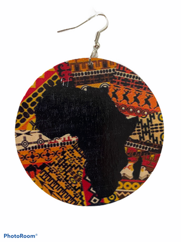 map of africa shaped earrings afrocentric jewelry accessories fashion outfit idea clothing cheap cute affordable unique different pro black kente print ear candy jewellery