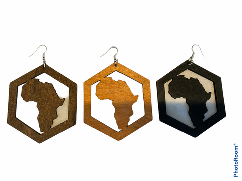 Africa within Hexagon earrings (3 colors)  | Africa shaped | African | Natural hair | Afrocentric | jewelry